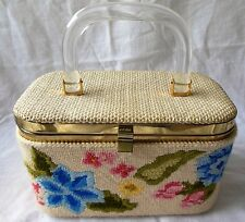 JR FLORIDA a Vintage Needlepoint Box Purse Beige Floral Lucite Handle