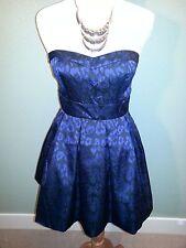 Forever 21 Blue/Black Short Length Tube Strapless Print Dress - Size L