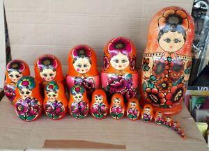 russische Matroschka 18 Teile Holz Puppe Dose Handarbeit Sowjetunion UDSSR 32cm