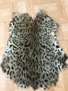 Tanned OCELOT patterned RABBIT SKIN fur pelt craft
