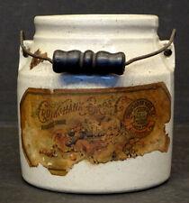 Antique CRUIKSHANK PRESERVES Primitive STONEWARE CROCK Pittsburgh ALLEGHENY PA