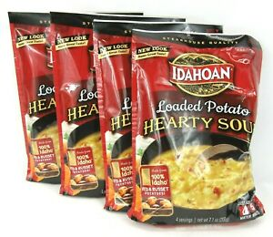 Idahoan Steakhouse Hearty Loaded Potato Soup Mix 7.1 oz 4 Pack Prepper Food