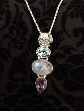 .925 Silver Blue Topaz/Rainbow Moon Stone/Amethyst Pendant W/neck chain Jewelry