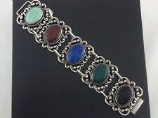"""DANECRAFT Sterling Bracelet Silver Large Link Chalcedony Vintage Signed 7.75"""" *"""