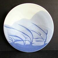 "Vintage Handcrafted Blue Gray Pottery Plate Plaque 8.5"" across signed FREE SH"