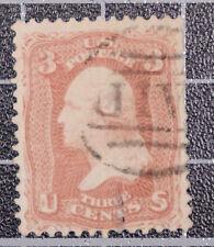 Scott 65 3 Cents Washington Used Nice Stamp Paid Fancy Cancel