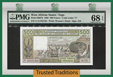 TT PK 806Th 1985 WEST AFRICAN STATES 500 FRANCS PMG 68 EPQ SUPERB TOP POP!