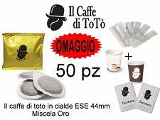 kit 50 cialde il caffè di toto bicchieri + palettine +zucchero caffe napoletano