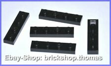 Lego 5 x Platte (1 x 4) - 3710 schwarz Platten - Black Plate - NEU / NEW