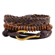 3 Strand/set Unisex Leather Bead Braided Bracelet Fish Hook Wrist Bangle Band