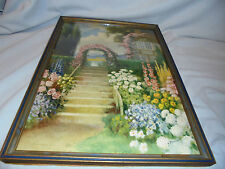 G. Blanchard Carr, R. Atkinson Fox Name He Used Cottage, Flowers, Framed 1920's