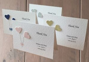 10 Personalised Wedding Thank You Cards - Blank Inside For Your Own Message
