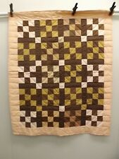 Vtg Amish Hand Sewn Peach Brown Nine Patch Quilt UNUSED 44 x 52 Lap Crib Jr Bed