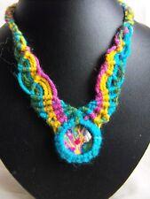 choker had band micro MACRAME GLASS CABOCHON rainbow choker necklace