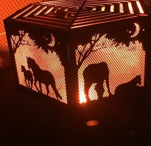 Horse and foal hexagonal fire pit with grill Black finish.