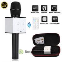 Q7 Wireless Bluetooth Karaoke Microphone USB Player Speaker Mini Home KTV Black
