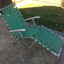 Vintage 50s Metal Mid Century MCM Green Folding Lawn Chair Chase Lounge Beach