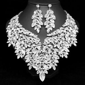 WHITE Luxury Swarovski Elements Jewelry Set  Necklace/Earrings party wedding