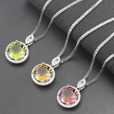 Round 10.0mm color change sultanit diaspore 925 sterling silver pendant necklace