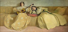 Beautiful Oil painting two young women playing Guitar on sofa free shipping cost
