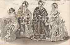 Winter Fashion-Victorian Wedding Dress-Paris-Lace-1842 ANTIQUE VINTAGE ART PRINT