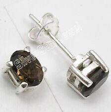 925 Solid Silver Fiery CUT SMOKY QUARTZ BIJOUX Stud Earrings .7 CM ONLINE BUY