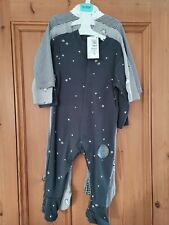 BNWT Marks And Spencer Baby Star Moon Sleepsuits 9-12 Months