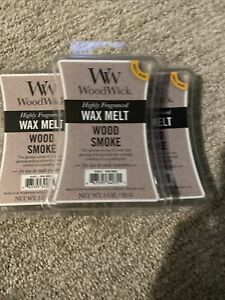 Lot of 3 WoodWick Wax Melt 3oz X 3 Wood Smoke Highly Scented