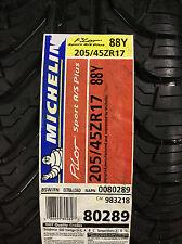 4 New 205 45 17 Michelin Pilot Sport A/S Plus Tires