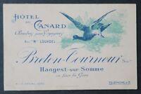 Carte de visite HOTEL DU CANARD Hangest-sur-Somme duck visit card