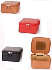 Laurige Leather Travel Jewellery Case available in Red, Black & Tan/Gold