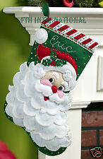 "Bucilla Jolly St. Nick ~ 18"" Felt Christmas Stocking Kit #86648, Santa Face Head"