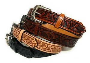 KIDS WESTERN BELT. GENUINE LEATHER KIDS RODEO BELT. TULIP DECORATED WESTERN BELT