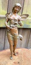 More details for antique art nouveau french spelter fairy figure figurine sculpture nymph model