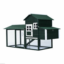Large Wood Chicken Coop Hen Pet Cage w/ Nesting Box and Run Green