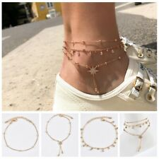Beads Drop Dangle Jewelry Anklets Vintage Punk Alloy Gold Rhinestone Multi-Star