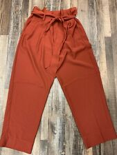 Madewell Pleated Wide Leg Crop Belted Pants Afterglow Red (Rust) Size 10