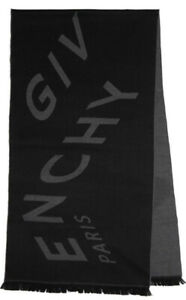 New Authentic Givenchy Logo Scarf Wool Black & Gray Unisex $613