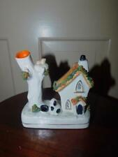 ANTIQUE STAFFORDSHIRE  QUILL HOLDER INKWELL DOG WITH HOUSE