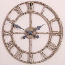 Rustic Skeleton Clock Antique Cream Wall Mounted Metal Roman Numerals Hallway