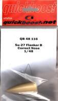 Quickboost 1:48 Su-27 Flanker B Correct Nose Academy Resin Detail Set #QB48-116