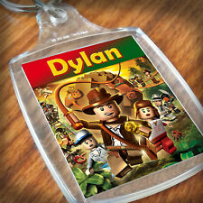 Personalised INDIANA JONES LEGO KEYRING, Lunch Bag, son daughter grandson gift