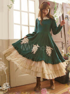 Classic red winter Lolita fashion Lace Tiered Ruffles Cotton long sleeve Dresses