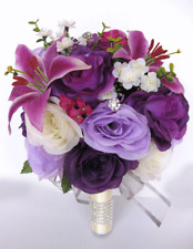 17 piece Wedding Bouquet package Bridal Silk Flowers PURPLE Lily PLUM LAVENDER