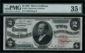 "1891 $2 Silver Certificate FR-245 - ""Windom"" - Graded PMG 35 NET - Choice VF"