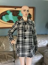 Sashimi Black & White Plaid Wool Blend Coat Lined Button Up Jacket Woman's S