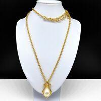 Liz Claiborne Long Gold Tone Chain Necklace Faux Pearl Pendant