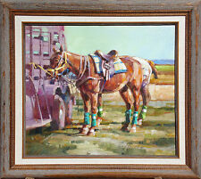 "Kim Mackey ""Polo Horses"" Hand Signed Original Oil Painting on Canvas Make Offer!"