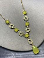 "Vintage Necklace gold Liz Claiborne Rhinestone  Pea Green Drop Pendant 16"" + 3"
