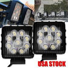 2x New 27W Square Work LED Light Flood Bead Bar Driving Lights For ATV UTV 4X4